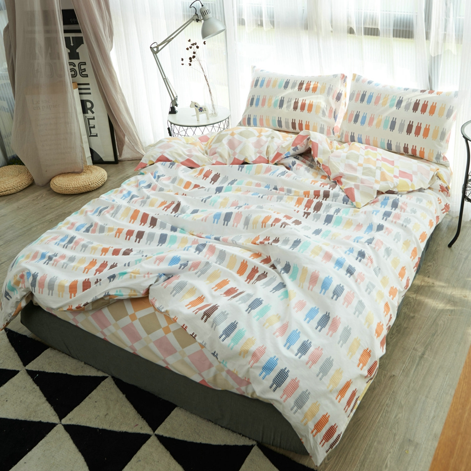 Bed sheet set with quilt - Bright Duvet Cover Quilt Bed Sheet Soft Pillowcases Single Double Queen King Size Bedding Set Cotton Robots Print Bedroom Set