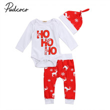 Pudcoco Christmas Baby's Set Toddler Infant Baby Boy Girl Snowflake Long Sleeve Bodysuit Pants Hat 3PCS Winter Baby Clothes Set