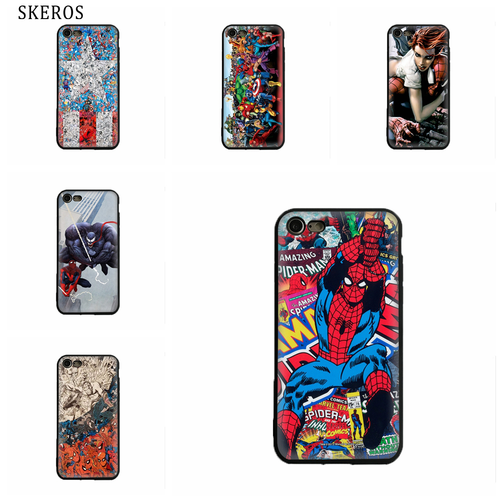 SKEROS Marvel Comics Spiderman TPU Phone  Soft Cover For Iphone X 5 5S Se 6 6S 7 8 6 Plus 6S Plus 7 Plus 8 Plus #oa226