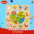 Onshine Kids Farm Animals Matching Wooden Puzzle Toys Games Picture Jigsaw Puzzles Toys For Children Gifts juguetes educativos