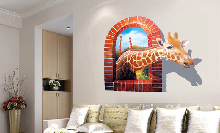 3D Giraffe Wall Stickers Drawing Room Bedroom Wallpaper Home Decoration  Animal Wall Sticker Giraffe Picture Removable In Hair Clips U0026 Pins From  Beauty ...