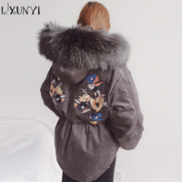 2018 New Winter Women Corduroy Parkas Thickening Embroidery White Duck Down Real Raccoon Fur Hooded Down
