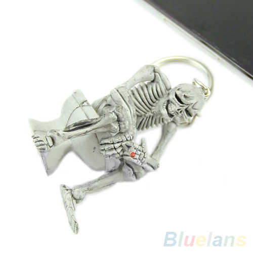 Bluelans אסלת Creative גולגולת אופנה ארנק תיק שרשרת גומי Keychain מתנות Keyring מפתח