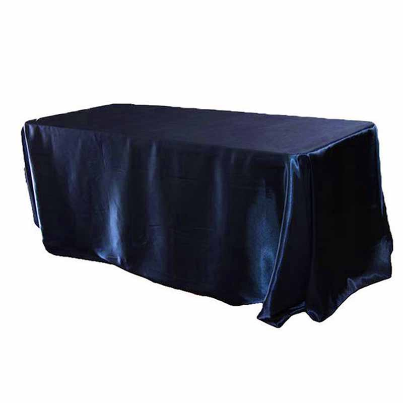 90 X 132 Inch Rectangular Satin Tablecloth White/Black Tablecloths Table  Cover For Wedding Party