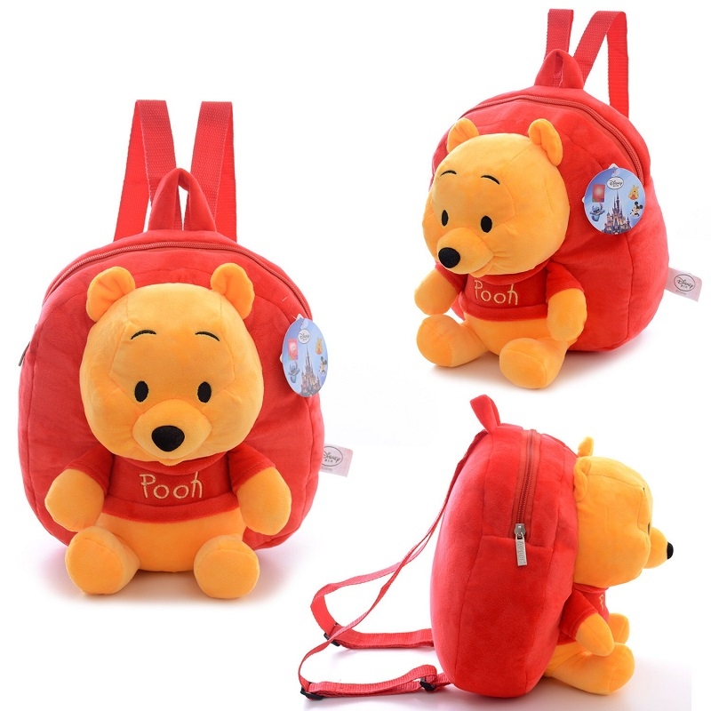 Original Genuine Winnie The Pooh Mickey Mouse Cartoon Plush Backpack Toy  Girl School Bag Children's Gifts Christmas Gifts