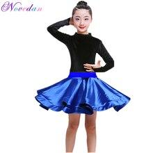 Red Black Latin Dance Rumba Clothing Salsa Dresses Stage Wear Costumes Kids Ballroom Dance Split Dress With Leotard And Skirt