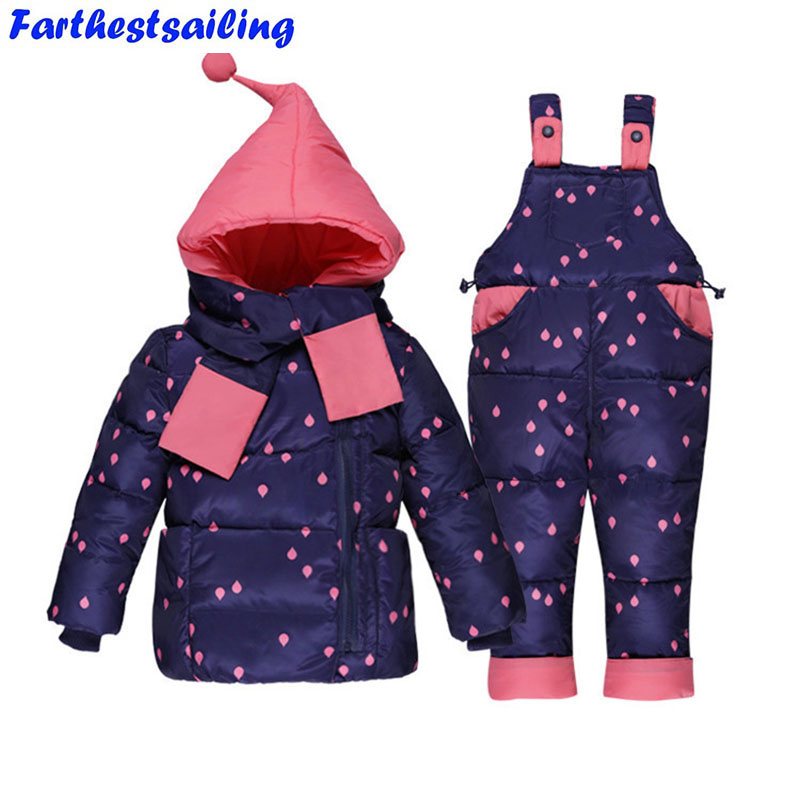 2017 winter Children clothing set Russia baby Girl Ski suit sets Boy's Outdoor sport Kids down coats Jackets+trousers -30degree 2018 winter children clothing set russia baby girl snow wear boy s outdoor snowsuit kids down coats jackets trousers 30degree
