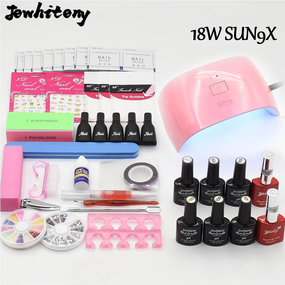 Nail Art Manicure Tools UV led Lamp 6 Color soak off Gel nail gel varnish base top coat polish Remover Practice set File kit nail art manicure tools set uv lamp 10 bottle soak off gel nail base gel top coat polish nail art manicure sets