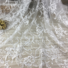 1Yard 47 width  Sequins Embroidered Peony Flowers bridal fabric Mesh white wedding dress lace Net womens trim