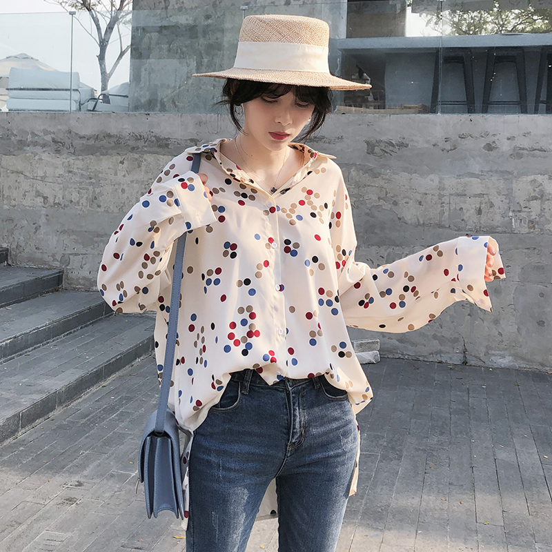 Mishow 2019 Women Polka Dots Tops Chiffon Female   Blouse     Shirt   Casual Loose Women Clothing MX19A4544