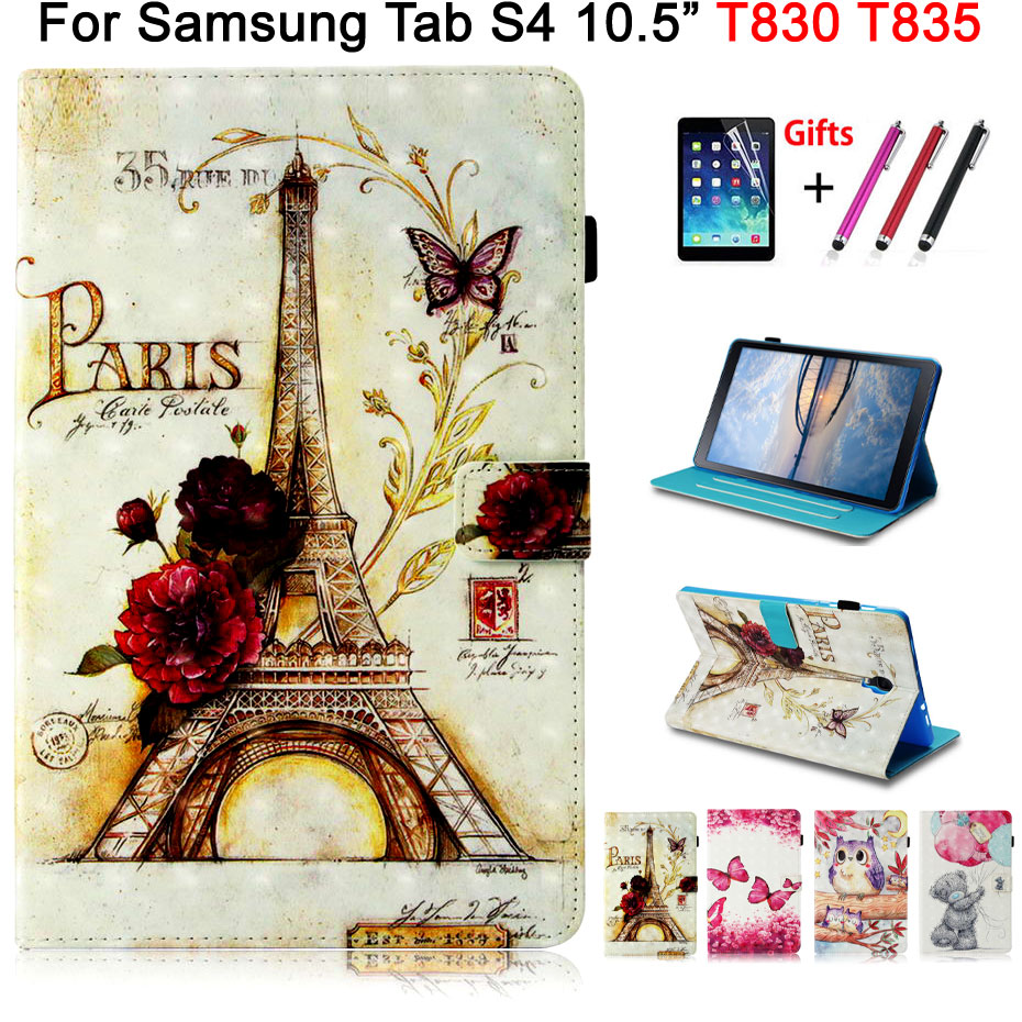 3D Vision Leather Case For Samsung Galaxy Tab S4 10.5 T830 T835 SM-T830 SM-T835 Fashion Patterns Painted Stand Shell