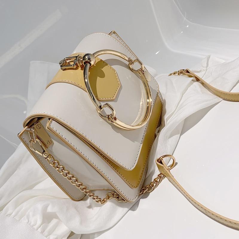 Elegant Female Metal Ring Tote Bag 2019 Summer New High Quality PU Leather Women's Designer Handbag Chain Shoulder Messenger Bag