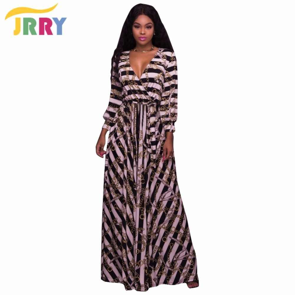 e6257b89d4 JRRY Casual Deep V Neck Long Sleeve Women Maxi Dresses Autumn Sashes Long  Print Dress Vestidos