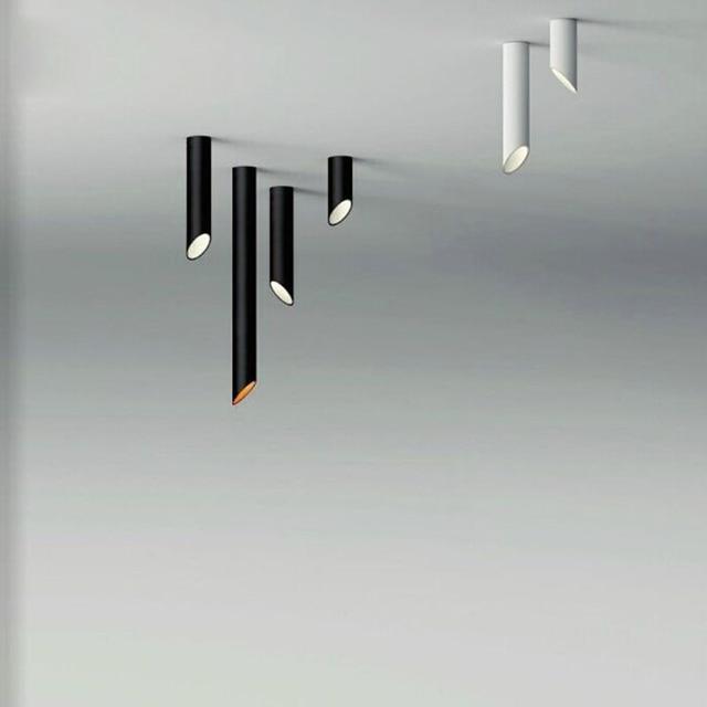 Contemporary Black White Cylinder Aluminum Modern Led