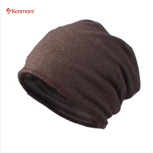 Kenmont Winter Autumn Unisex Men Polyester Coffee Color Outdoor Ski Hat Beanie Slouch Cap 2344