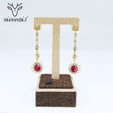 Viennois Gold/Silver Color Long Dangle Earrings for Women Rhinestone Crystal Drop Trendy