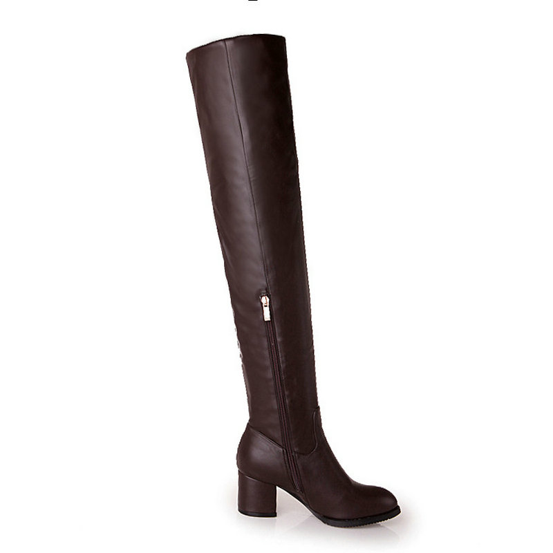 女性側ジッパーオーバー膝ブーツ厚い冬のブーツ  グループ上の 靴 からの 膝上 ブーツ の中 3