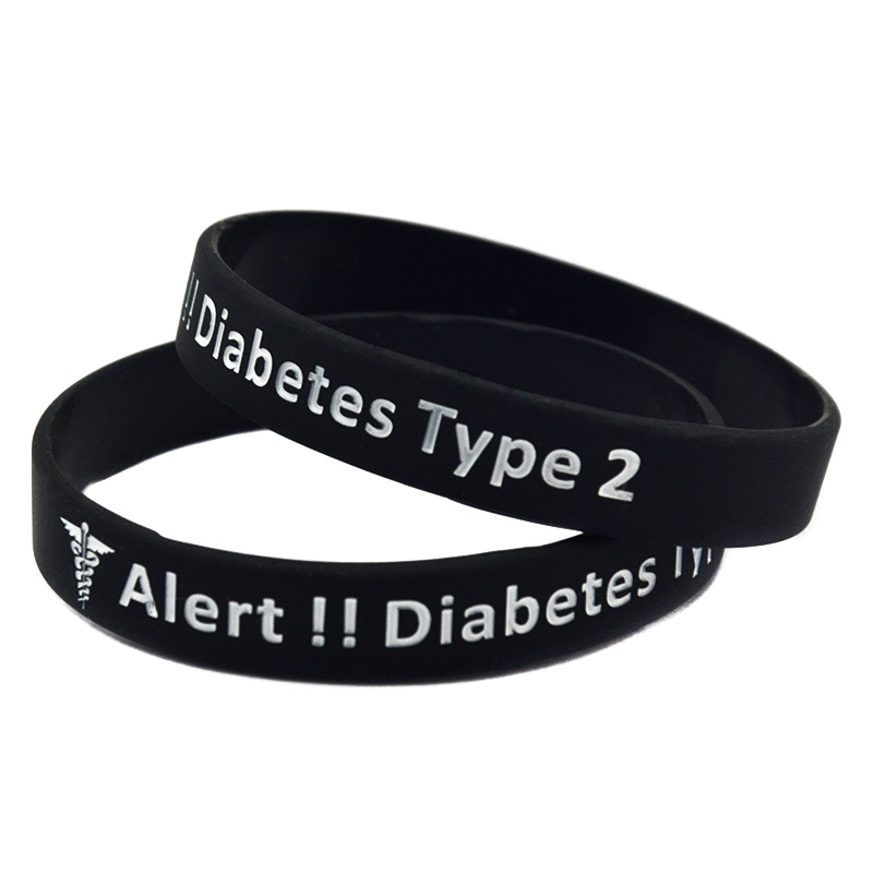 OneBandaHouse 1PC Type 2 diabeetiline meditsiiniline hoiatus silikoonist käepael käevõru