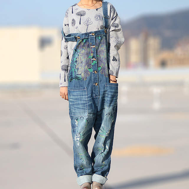 Online Shop Ethnic Print Ripped Denim Overalls Distressed Jeans