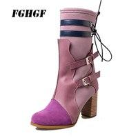 Осенне зимняя обувь ручной работы, кожаные ботинки с ремешками и пряжками на толстом высоком каблуке, яркие цвета, эластичная ткань, Тонкие
