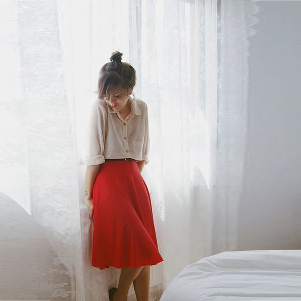 e0a77bec242d Custom Made Modest Skirts A Line Knee Length Midi Skirt Red Chiffon Skirt