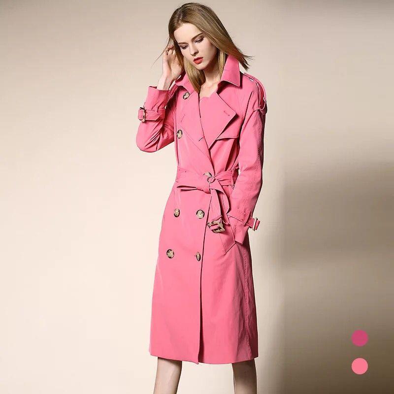 Femmes Longue lavande X Européenne Vêtements Solide Double Manteau Rose  Designer Rose Breasted Survêtement Automne 2018 De ... f5b8c75ab93