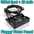 2015 3.5 polegada de 20 Pinos USB 3.0 2 Portas Hub + HD Conector de áudio Do Microfone Adaptador Interno Floppy Bay Painel Frontal Suporte com Cabo