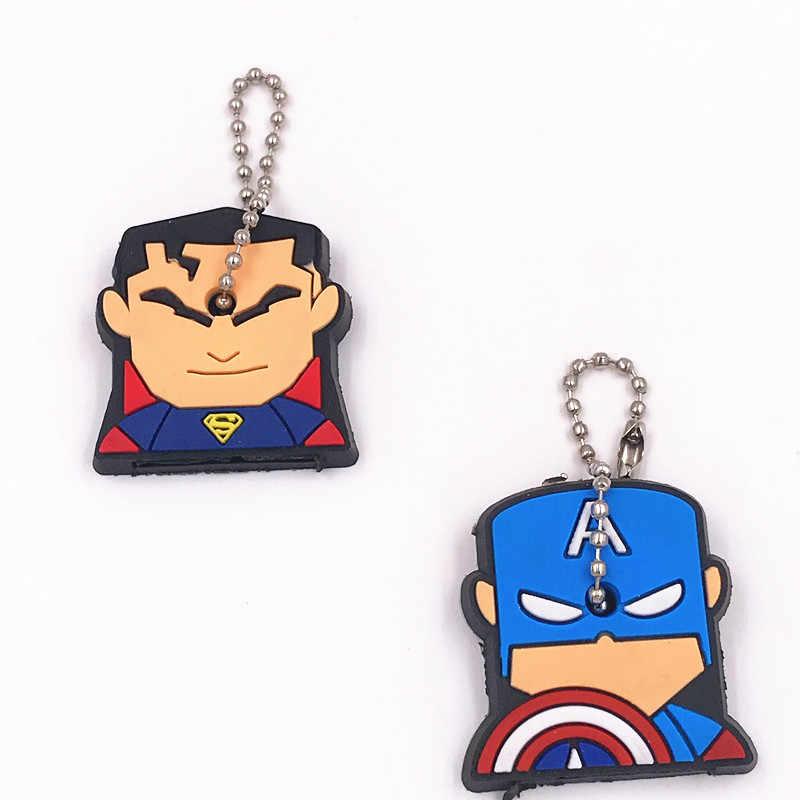 2 Pcs Super Homem Tampa Da Chave Da Marvel Avengers Batman Hulk Thor Chaveiros Moda Jóias Silicone Dos Desenhos Animados do Anel Chave de Cadeia titular