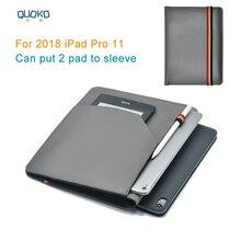 """Koyabilirsiniz 2 ped kol çantası kapağı, mikrofiber deri tablet kol çantası 2018 iPad Pro için 11"""""""