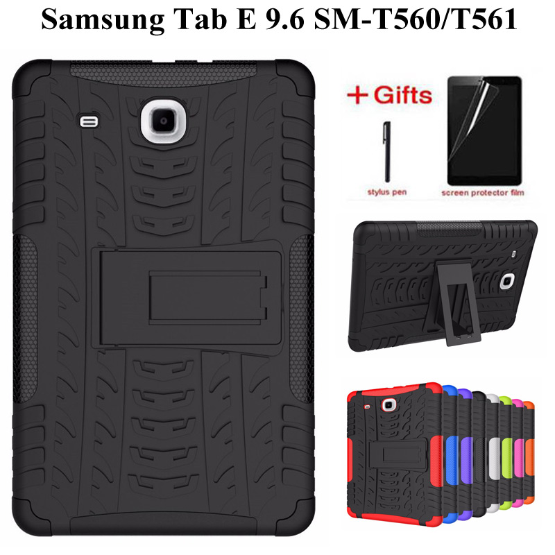Hybrid Armor Kickstand TPU +PC Back Case For Samsung Galaxy Tab E 9.6 T560 T561 Tablet Cover For Samsung TabE T560 Case+Film+Pen