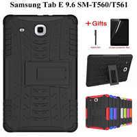 Hybrydowa pancerna podpórka TPU + PC Case powrót do Samsung Galaxy Tab E 9.6 T560 T561 Tablet pokrywa dla Samsung TabE T560 case + film + długopis