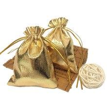 50 adet/grup 7*9 cm İpli hediye keseleri Altın ve Gümüş Takı hediye keseleri Aksesuarları Ambalaj Küçük hediye keseleri
