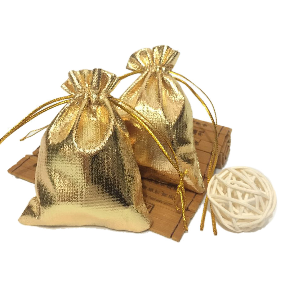 50pcs/lot 7 * 9cm Drawstring Gift Bags Gold and Silver Jewelry Gift Bags Accessories Packaging Small Gift Bags