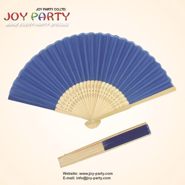 10 개 / 많은 21cm 딥 블루 컬러 실크 핸드 팬, 패브릭 팬, 중국 공예 팬, 웨딩 파티 DIY Favor