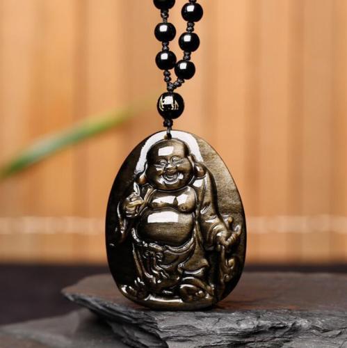 Koraba Fine Jewelry Chinese Natural Gold Obsidian Hand-Carved Blessing Maitreya Buddha Pendant Free ShippingKoraba Fine Jewelry Chinese Natural Gold Obsidian Hand-Carved Blessing Maitreya Buddha Pendant Free Shipping