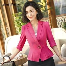1pcs Womens Blazers coats 2019 Autumn cotton Splicing Ruffles Small Suits jackets ladies Skinny Office Girls