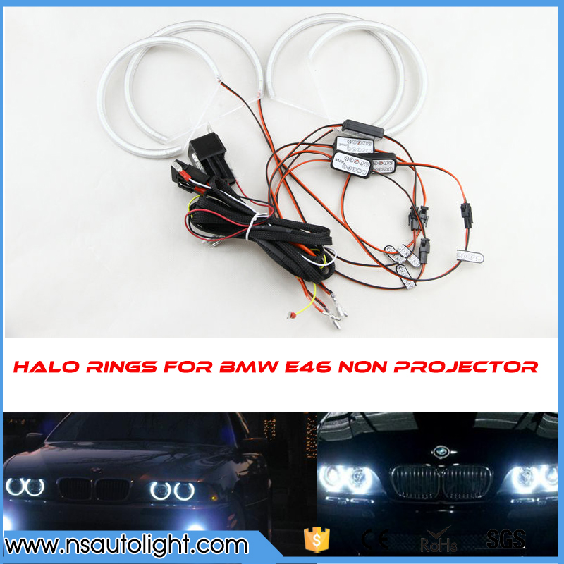 2x(131mm+146mm) Angel Eyes 3528 57SMD Halo Ring Kit LED DRL Headlight Semicircle For BMW E46 Non Projector With Lampshades Fuse led rings white 3014 smd led angel eyes headlight halo ring marker 131mm 145mm for bmw e46 non projector