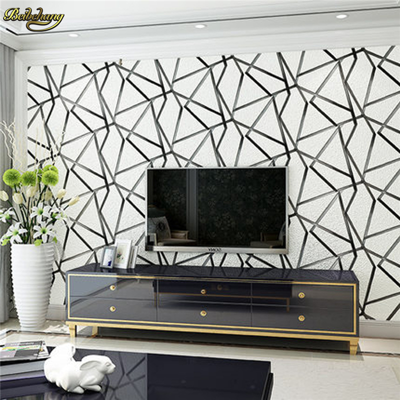 beibehang papel de parede 3d flooring non-woven wall paper bedroom living room TV background wallpaper roll Geometric diamond modern minimalist striped glitter wall paper non woven wallpaper for living room sofa tv background wallcovering papel de parede