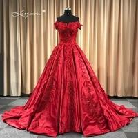 Leeymon 2018 שמלות כלה אפליקציות חרוזים Vintage סאטן כדור שמלת תחרה עד שמלת הכלה באורך רצפת שמלת תמונות אמיתיות