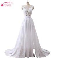 Bohemian Chiffon Wedding Dresses 2018 Beach Sexy Side Split France Romantic Vestido De Noiva Cheap Gelinlik ZW013