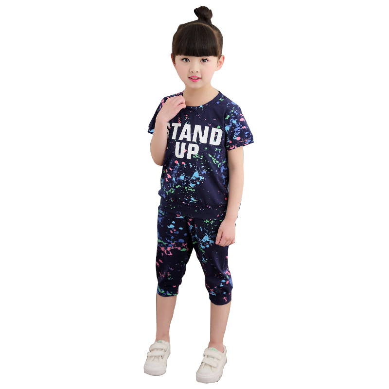 Girls Tracksuits 100% Cotton Summer Sportswear Outfits Girls Sports Suits Graffiti Letter Clothing Sets For 5 6  8 10 12 14 Year