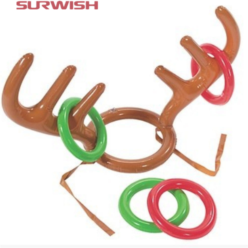 Surwish Children Kids Inflatable Santa Funny Reindeer Antler Hat Ring Toss Christmas Party Supplies Toys