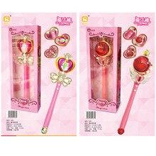 Аниме косплей Сейлор Мун Tsukino палочка хеншин стержень светящаяся палочка спиральное сердце лунный жезл музыкальная волшебная палочка игрушки для девочек