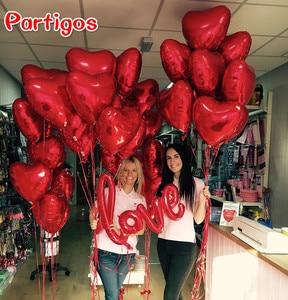 Image 2 - 50 pçs 18 polegada rosa ouro vermelho rosa folha de amor coração balões de hélio festa de aniversário casamento balões dia dos namorados globos suprimentos