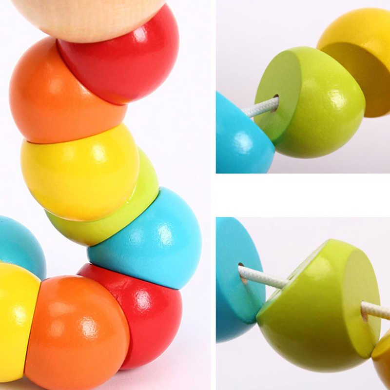 Bebek eğitici ahşap büküm tırtıl oyuncaklar bulmacalar çocuklar için Montessori beyin gelişmekte çocuk oyuncakları eğlenceli DIY renkli Model