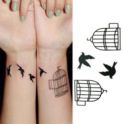 2Pcs Waterproof Fake Tattoo Stickers Lovers Arm Fast Tattoo Birds Cage Pattern Design Water Transfer Temporary Tattoos Sticker
