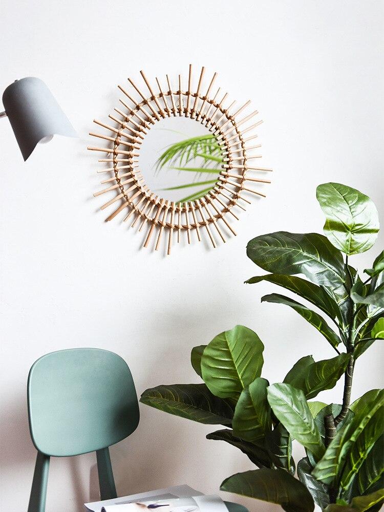 US $35.59 11% OFF rattan makeup mirror creative art decorative round mirror  people bathroom living room wall hanging mirror large-in Decorative ...