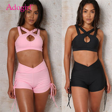 цена на Adogirl Solid Women Sexy Tracksuit Hollow Out Crisscross Spaghetti Strap Crop Top + Shorts Two Piece Set Fitness Suit Sportswear