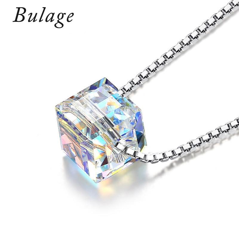 Bulage 925 Sterling Silber Halsband Original Kristall Von Swarovski ...