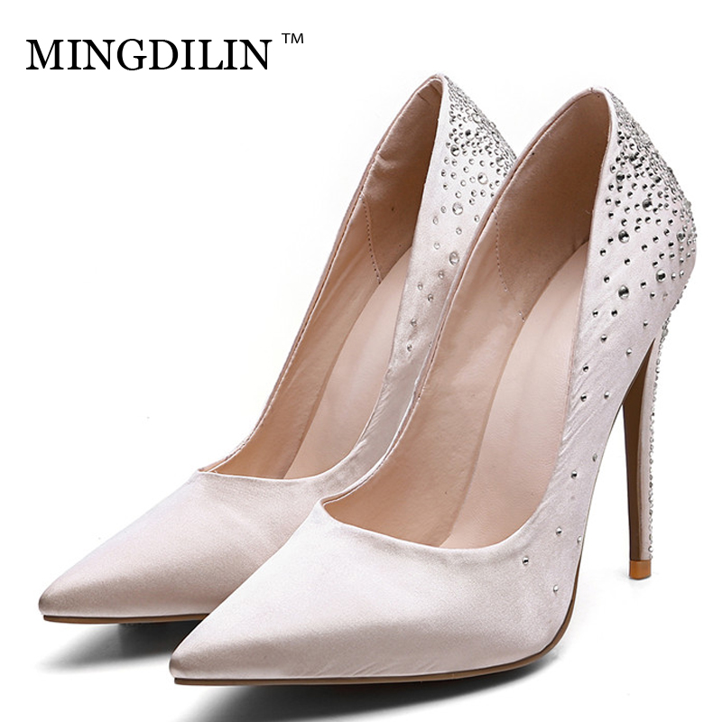 MINGDILIN Women's High Heels Shoes Wedding Party Woman Rhinestone Shoes Plus Size 33 43 Pointed Toe Sexy Pumps Stiletto 2018